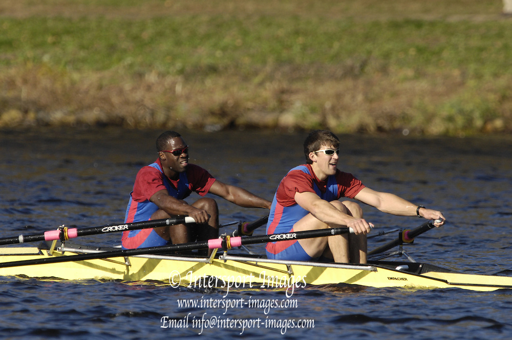 Boston, Massachusetts,  Championships Men's Doubles,   bow Aquil ABDULLAH and Mark FLICKINGER, Princeton training Center move  past the Newell Boathouse, Harvard University,  during their race in the  Forty second Head of the Charles, 21/10/2006.  Photo  Peter Spurrier/Intersport Images...[Mandatory Credit, Peter Spurier/ Intersport Images] Rowing Course; Charles River. Boston. USA