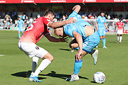 Joey Jones and Ryan Broom  during the EFL Sky Bet League 2 match between Salford City and Cheltenham Town at Moor Lane, Salford, United Kingdom on 14 September 2019.