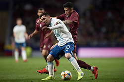 March 22, 2019 - Madrid, Madrid, Spain - Lionel Messi (Barcelona) of Argentina  and Junior Moreno (DC. United) of Venezuela competes for the ball during the international friendly match between Argentina and Venezuela at Wanda Metropolitano Stadium in Madrid, Spain on March 22 2019. (Credit Image: © Jose Breton/NurPhoto via ZUMA Press)