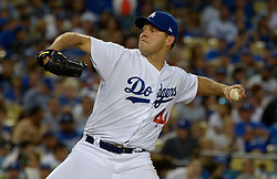 June 21, 2017 - Los Angeles, California, U.S. - Los Angeles Dodgers starting pitcher Rich Hill throws to the plate against the New York Mets in the fourth inning of a Major League baseball game at Dodger Stadium on Wednesday, June 21, 2017 in Los Angeles. Los Angeles. (Photo by Keith Birmingham, Pasadena Star-News/SCNG) (Credit Image: © San Gabriel Valley Tribune via ZUMA Wire)