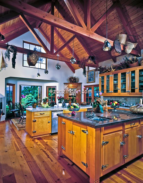 Country, Kitchen, Interior, A Frame Ceiling, Double Island,  Interior, Country design,  Ca, Wood Floor, California, All Wood Cabinets,