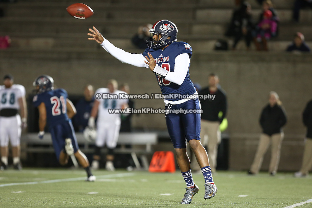Tajh Boyd #10 of the Boston Brawlers throws the ball during the first ever Boston Brawlers home game at Harvard Stadium on October 24, 2014 in Boston, Massachusetts. (Photo by Elan Kawesch)