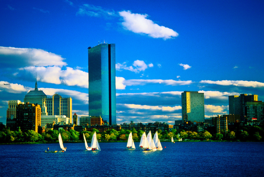 Sailboats on the Charles River and the John Hancock Building in back, Boston, Massachusetts USA