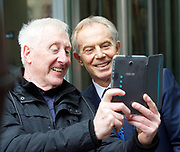 Andrew Marr Show <br /> departures<br /> BBC, Broadcasting House, London, Great Britain <br /> 19th March 2017 <br /> <br /> Tony Blair takes a selfie with a fan as he <br /> departs the Andrew Marr Show <br /> <br /> <br /> Photograph by Elliott Franks <br /> Image licensed to Elliott Franks Photography Services