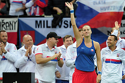 February 11, 2018 - Prague, Czech Republic - Czech tennis team celebrates after winning in their Fed Cup match between Czech Republic v Switzerland in Prague, Czech Republic, February 11, 2018. Petra Kvitova completed a fairytale return to Fed Cup by BNP Paribas tennis by outplaying Swiss Belinda Bencic to put the Czech Republic into a winning 3-0 advantage in Prague. (Credit Image: © Slavek Ruta via ZUMA Wire)