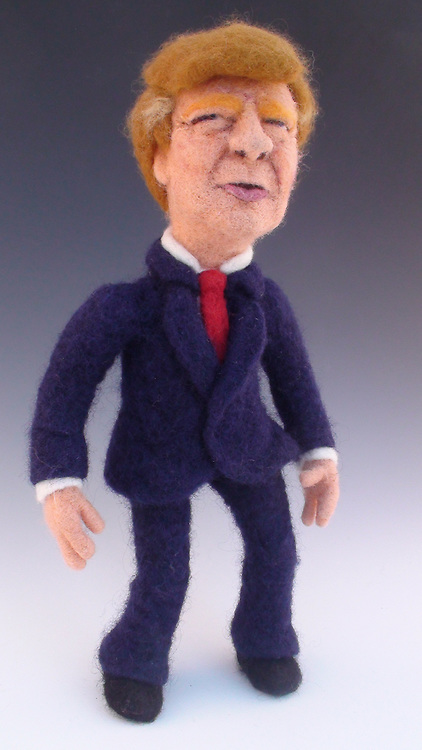 USA - 17/-8/2010 - Celebrity Sculptural needle felting by Kay Petal from Alaska has been creating amazing creations since 2007.all these creations are made by a single needle and wool.<br /> Photo Shows: Donald Trump<br /> (&copy;Kay Petal/Exclusivepix)