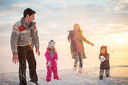 Family, Children, Snowball, Throwing, Playing, Fun, Enjoyment,