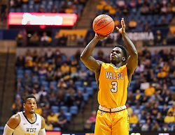Nov 24, 2018; Morgantown, WV, USA; Valparaiso Crusaders guard Daniel Sackey (3) shoots a three pointer during the first half against the West Virginia Mountaineers at WVU Coliseum. Mandatory Credit: Ben Queen-USA TODAY Sports
