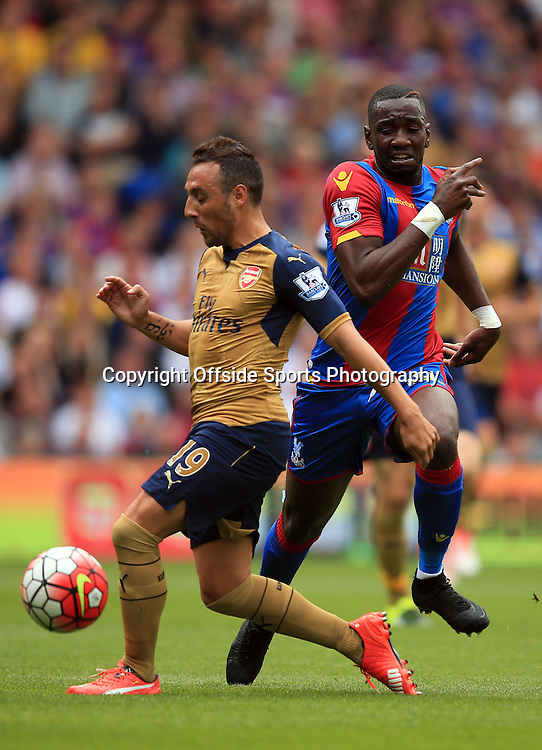 16 August 2015 - Barclays Premier League - Crystal Palace v Arsenal - Yannick Bolaise of Crystal Palace in action with Santi Cazorla of Arsenal - Photo: Marc Atkins / Offside.