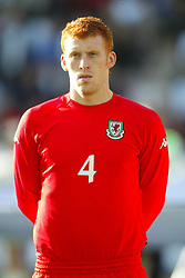 OSLO, NORWAY - Thursday, May 27, 2004:  Wales' James Collins pictured before the International Friendly match at the Ullevaal Stadium, Oslo, Norway. (Photo by David Rawcliffe/Propaganda)
