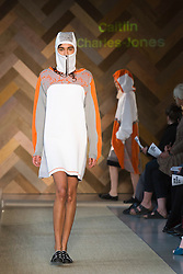 © Licensed to London News Pictures. 29/05/2014. London, England. Collection by Caitlin Charles-Jones. 30 students of the Royal College of Art's prestigious MA Fashion programme presented their final collections in  a runway show at the RCA building in Kensington. Photo credit: Bettina Strenske/LNP