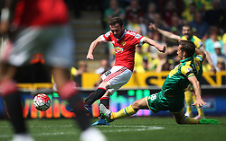 Juan Mata of Manchester United has a shot on goal - Mandatory by-line: Jack Phillips/JMP - 07/05/2016 - FOOTBALL - Carrow Road - Norwich, England - Norwich City v Manchester United - Barclays Premier League