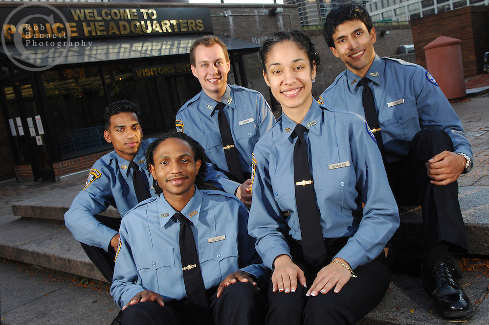 L to R Mohammed Manik, Tremayne Craigg, Michael Levoff, Amanda Morales, and Michael Checa are members of the NYPD Police Cadet Corps program. They are photographed outside of NYPD Headquarters at One Police Plaza in lower Manhattan.