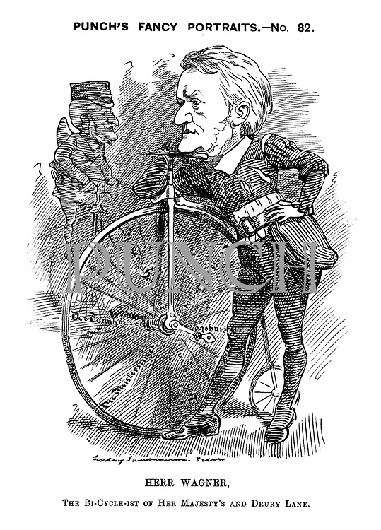 Punch's Fancy Portraits. - No. 82. Herr Wagner, The bi-cycle-ist of Her Majesty's and Drury Lane.