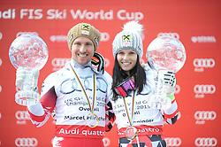 22.03.2015, Roc de Fer, Meribel, FRA, FIS Weltcup Ski Alpin, Meribel, am Podium für den Gesamtweltcup, im Bild Marcell Hirscher (AUT, 1. Platz) und Anna Fenninger (AUT, 1. Platz) mit ihren Kugeln für den Gesamtweltcup // first placed Marcell Hirscher of Austria and first placed Anna Fenninger of Austria with their crystal globes for the Overall World Cup during the overall winner Ceremony for the Overall FIS World Cup at the Roc de Fer in Meribel, France on 2015/03/22. EXPA Pictures © 2015, PhotoCredit: EXPA/ Erich Spiess