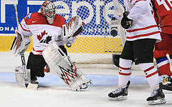 Goalkeeper Cam Ward at  ice-hockey game Canada vs Russia at finals of IIHF WC 2008 in Quebec City,  on May 18, 2008, in Colisee Pepsi, Quebec City, Quebec, Canada. Win of Russia 5:4 and Russians are now World Champions 2008. (Photo by Vid Ponikvar / Sportal Images)