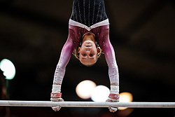 October 28, 2018 - Doha, Quatar - Victoria Kajoe of  Denmark   during  Uneven Bars qualification at the Aspire Dome in Doha, Qatar, Artistic FIG Gymnastics World Championships on 28 of October 2018. (Credit Image: © Ulrik Pedersen/NurPhoto via ZUMA Press)