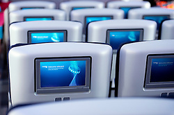 04/07/2013 . London, UK.  Television screens on board  the new British Airways Boeing A380 superjumbo which arrived at Heathrow Airport on July 4, 2013. It was the first time British Airlines have taken delivery of the new plane, making British Airways the first European airline to operate both the 787 and A380. Photo credit : Ben Cawthra/