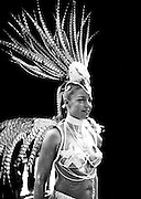 A showgirl in black and white