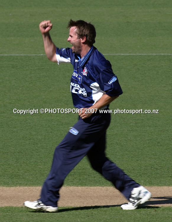 Auckland's Paul Hitchcock celebrates a wicket. State Auckland Aces v State Northern Knights. State Shield Cricket. Eden Park Outer Oval, Auckland, New Zealand. Sunday 30 December 2007. Photo: Hagen Hopkins/PHOTOSPORT