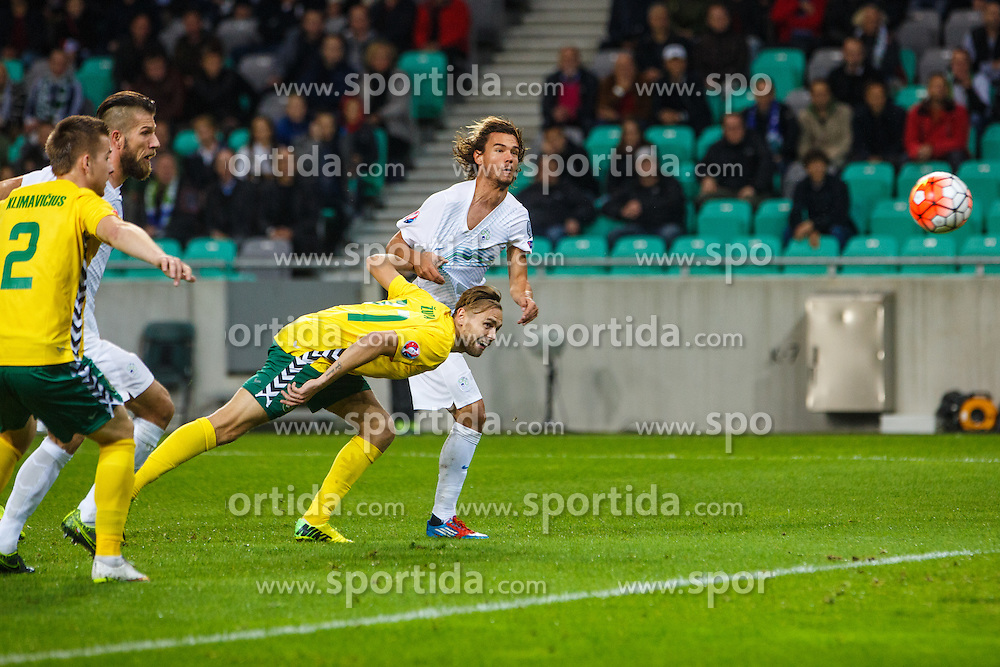 Rene Krhin of Slovenia during the EURO 2016 Qualifier Group E match between Slovenia and Lithuania, on October 9, 2015 in SRC Stozice, Ljubljana Slovenia. Photo by Grega Valancic / Sportida