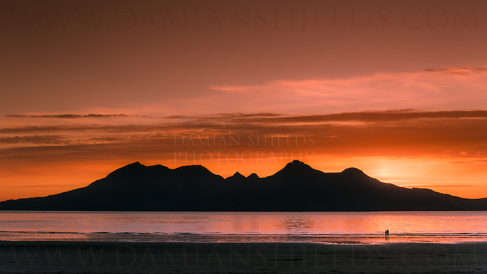 The mighty view of Rum from stunning Laig bay, Isle of Eigg
