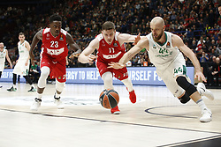 November 9, 2017 - Assago, Milan, Italy - Antanas Kavaliauskas (#44 Zalgiris Kaunas) fight for a ball during a game of Turkish Airlines EuroLeague basketball between  AX Armani Exchange Milan vs Zalgiris Kaunas at Mediolanum Forum on November 9, 2017 in Milan, Italy. (Credit Image: © Roberto Finizio/NurPhoto via ZUMA Press)