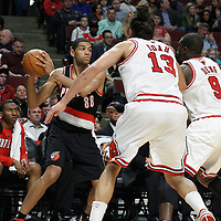 16 March 2012: Portland Trail Blazers small forward Nicolas Batum (88) looks to pass the ball during the Portland Trail Blazers 100-89 victory over the Chicago Bulls at the United Center, Chicago, Illinois, USA.