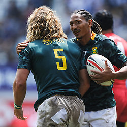 Werner Kok celebrates his try with Justin Geduld of South Africa during match between South Africa and Russia at the HSBC Paris Sevens, stage of the Rugby Sevens World Series at Stade Jean Bouin on June 9, 2018 in Paris, France. (Photo by Sandra Ruhaut/Icon Sport)