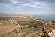 Israel, Lower Galilee, Mount Arbel overlooking the Sea of Galilee
