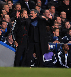 Inter Milan Jose Mourinho reacts during the second leg of the round of 16 UEFA Champions League match at home to Chelsea at Stamford Bridge football stadium, London on March 16, 2010.