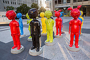 The Watch modern art sculpture by artist Hebru Brantley in Pioneer Court Plaza on Michigan Avenue, Chicago USA