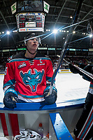 KELOWNA, CANADA - OCTOBER 27: Cal Foote #25 of the Kelowna Rockets stands at the boards with a broken stick against the Tri-City Americans on October 27, 2017 at Prospera Place in Kelowna, British Columbia, Canada.  (Photo by Marissa Baecker/Shoot the Breeze)  *** Local Caption ***