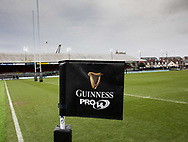 A general view of Rodney Parade, home of Dragons banner, flag<br /> <br /> Photographer Simon King/Replay Images<br /> <br /> Guinness Pro14 Round 11 - Dragons v Cardiff Blues - Tuesday 26th December 2017 - Rodney Parade - Newport<br /> <br /> World Copyright &copy; 2017 Replay Images. All rights reserved. info@replayimages.co.uk - www.replayimages.co.uk