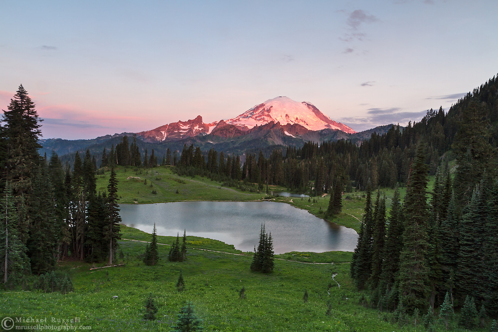 Early morning light on Mount Rainier from Tipsoo Lake in Mount Rainier National Park, Washington State, USA