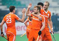 NEW DELHI - Vreugde bij Billy Bakker en Mink van der Weerden  tijdens  de  wedstrijd tussen Nederland en Argentinie (2-5) Hockey World League finale ronde voor mannen in New Delhi. ANP KOEN SUYK