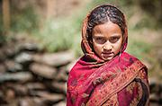 Girl wrapped in sari (Nepal)