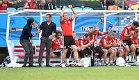 FUSSBALL WM 2014  VORRUNDE    Gruppe G     Deutschland - Portugal              16.06.2014 Freude auf der deutschen Bank: Bundestrainer Joachim Loew, Co-Trainer Hansi Flick und Torwarttrainer Andreas Köpke (v.l., alle Deutschland)
