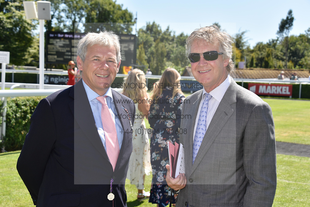 Left to right, Charlie Gordon-Watson and Ben Sangster at the Qatar Goodwood Festival - Glorious Goodwood, Goodwood Racecourse, West Sussex 02 August 2018.