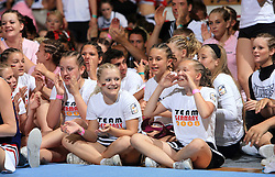 Cheerleaders during final ceremony at second day of European Cheerleading Championship 2008, on July 6, 2008, in Arena Tivoli, Ljubljana, Slovenia. (Photo by Vid Ponikvar / Sportal Images).