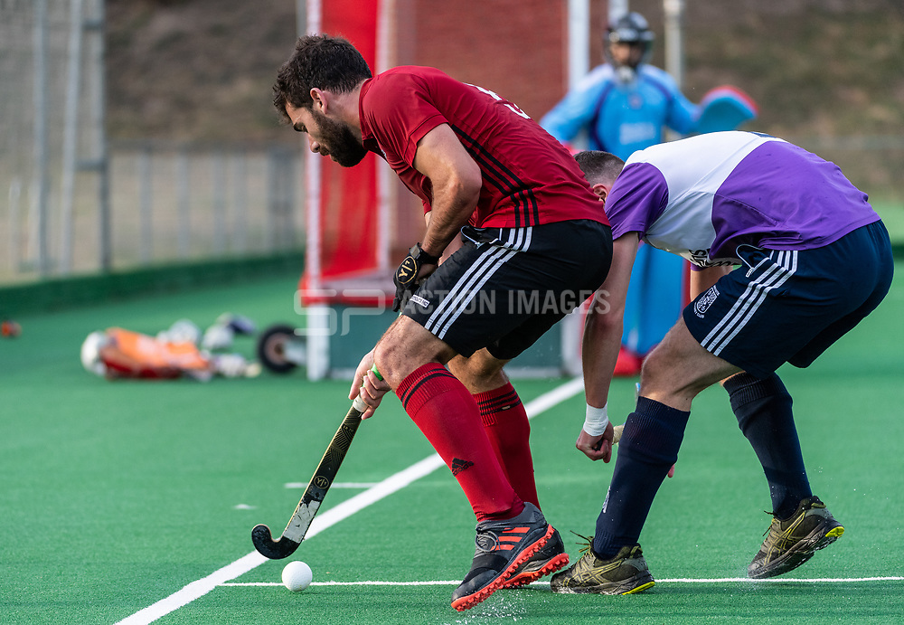 Southgate v Old Loughtonians at Southgate Hockey Centre, Trent Park, London, England on 14 September 2019.<br /> Photo by Simon Parker/SP Action Images
