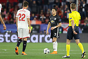 Manchester United Forward Alexis Sanchez argues with Sevilla midfielder Franco Vazquez (22) during the Champions League match between Sevilla and Manchester United at the Ramon Sanchez Pizjuan Stadium, Seville, Spain on 21 February 2018. Picture by Phil Duncan.