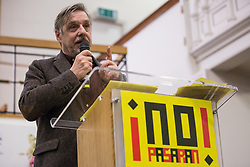 London, UK. 2nd March, 2019. Walter Baier, coordinator of Transform! Europe addresses the ¡No Pasaran! Confronting the Rise of the Far-Right conference at Bloomsbury Central.