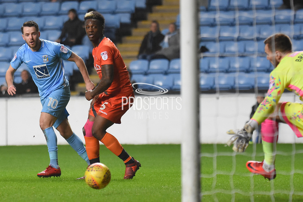 Coventry City striker Marc McNulty (10) scores a goal 2-0 during the EFL Sky Bet League 2 match between Coventry City and Wycombe Wanderers at the Ricoh Arena, Coventry, England on 22 December 2017. Photo by Alan Franklin.