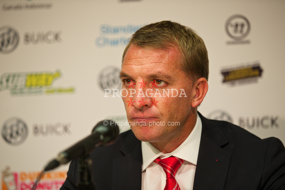 BOSTON, USA - Tuesday, July 22, 2014: Liverpool's manager Brendan Rodgers during a press conference at Fenway Park in Boston on two one of the club's USA Tour. (Pic by David Rawcliffe/Propaganda)