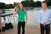 FREDERIK FERRIER; FRANCIS BOULLE, Chucs Dive & Mountain Shop charity Swim Party: Lido at The Serpentine. London. 4 July 2011. <br /> <br />  , -DO NOT ARCHIVE-© Copyright Photograph by Dafydd Jones. 248 Clapham Rd. London SW9 0PZ. Tel 0207 820 0771. www.dafjones.com.