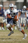 OXNARD, CA - AUGUST 8:  Quarterback Drew Bledsoe #11 of the Dallas Cowboys looks down-field for a receiver during the Dallas Cowboys training camp on August 8, 2006 in Oxnard, California. ©Paul Anthony Spinelli *** Local Caption *** Drew Bledsoe