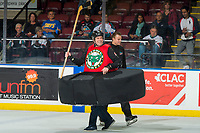 KELOWNA, CANADA - OCTOBER 3:  Fans take part in an intermission hockey game on October 3, 2018 at Prospera Place in Kelowna, British Columbia, Canada.  (Photo by Marissa Baecker/Shoot the Breeze)  *** Local Caption ***
