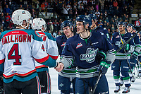 KELOWNA, CANADA - APRIL 30: Gordie Ballhorn #4  of the Kelowna Rockets shakes hands with Mathew Barzal #13 of the Seattle Thunderbirds on April 30, 2017 at Prospera Place in Kelowna, British Columbia, Canada.  (Photo by Marissa Baecker/Shoot the Breeze)  *** Local Caption ***