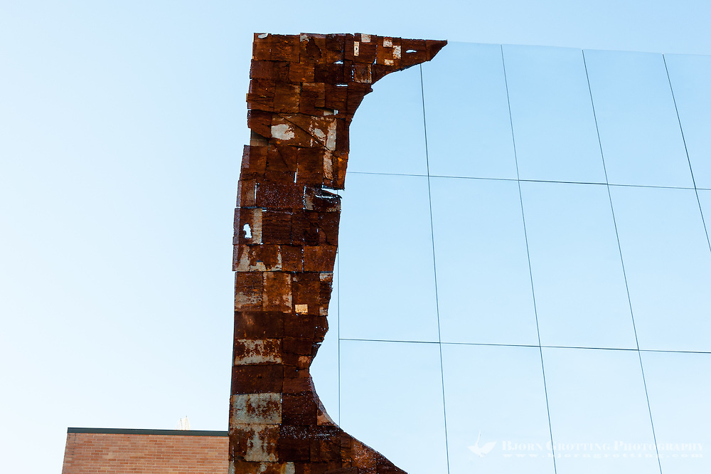US, New York City. Artwork made of mirrors and iron plates on the High Line park.
